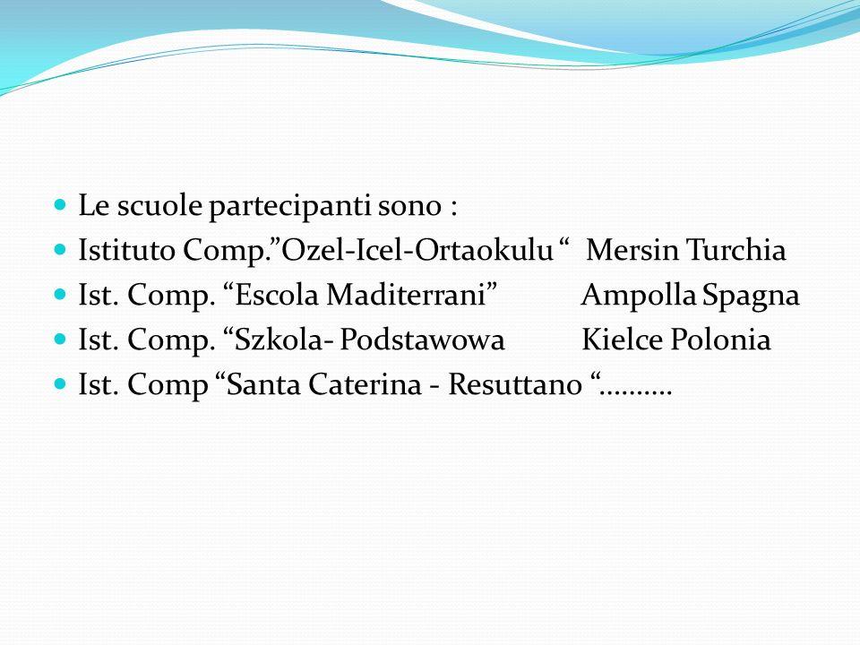 "Le scuole partecipanti sono : Istituto Comp.""Ozel-Icel-Ortaokulu "" Mersin Turchia Ist. Comp. ""Escola Maditerrani"" Ampolla Spagna Ist. Comp. ""Szkola- P"