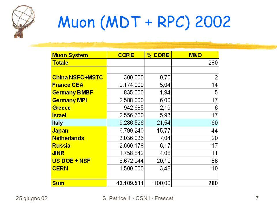 25 giugno 02S. Patricelli - CSN1 - Frascati7 Muon (MDT + RPC) 2002