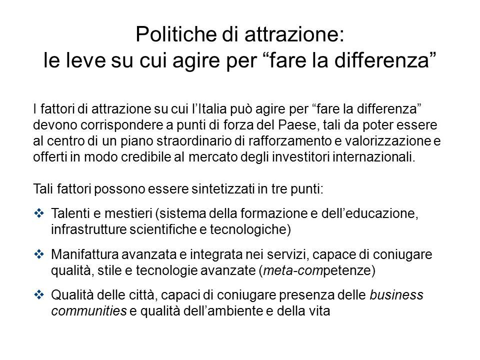 """I fattori di attrazione su cui l'Italia può agire per """"fare la differenza"""" devono corrispondere a punti di forza del Paese, tali da poter essere al ce"""