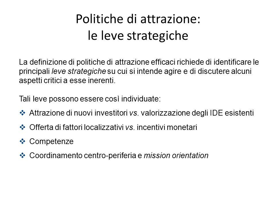 La definizione di politiche di attrazione efficaci richiede di identificare le principali leve strategiche su cui si intende agire e di discutere alcu