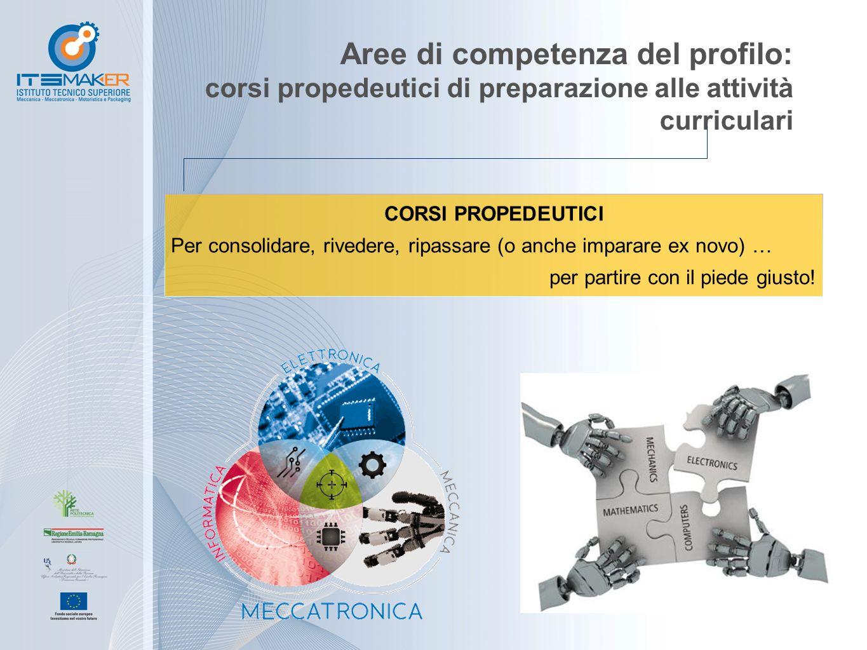 Aree di competenza del profilo: corsi propedeutici di preparazione alle attività curriculari CORSI PROPEDEUTICI Per consolidare, rivedere, ripassare (