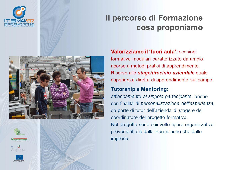 Il percorso di Formazione cosa proponiamo Valorizziamo il 'fuori aula': sessioni formative modulari caratterizzate da ampio ricorso a metodi pratici di apprendimento.