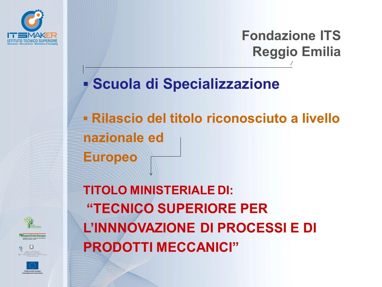 """Fondazione ITS Reggio Emilia ▪ Scuola di Specializzazione ▪ Rilascio del titolo riconosciuto a livello nazionale ed Europeo TITOLO MINISTERIALE DI: """"T"""