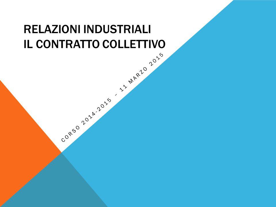 RELAZIONI INDUSTRIALI IL CONTRATTO COLLETTIVO CORSO 2014-2015 – 11 MARZO 2015
