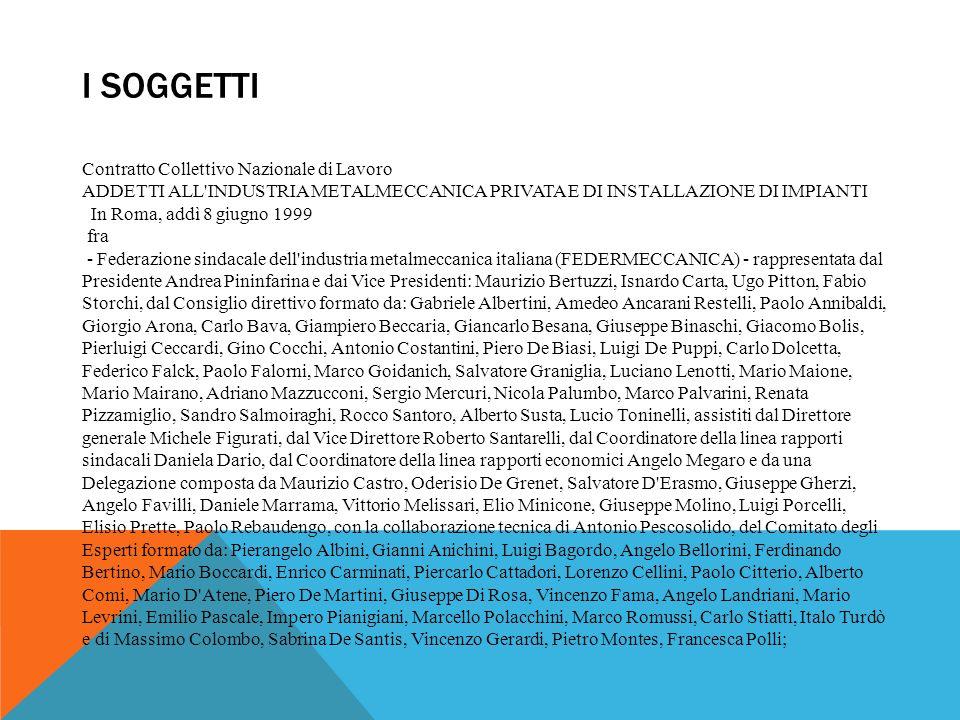 I SOGGETTI Contratto Collettivo Nazionale di Lavoro ADDETTI ALL'INDUSTRIA METALMECCANICA PRIVATA E DI INSTALLAZIONE DI IMPIANTI In Roma, addì 8 giugno