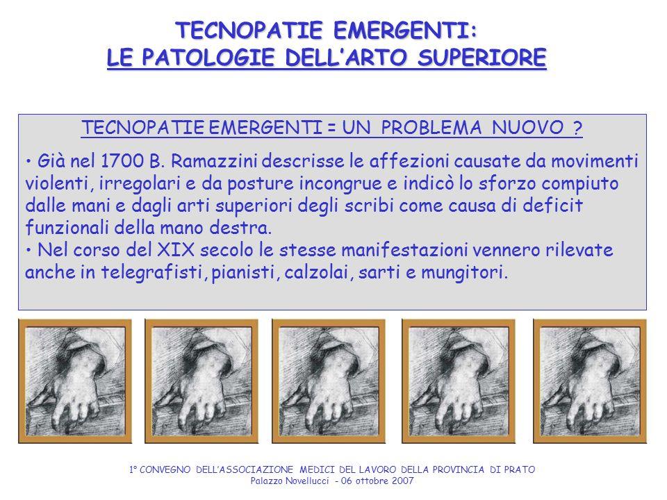 TECNOPATIE EMERGENTI = UN PROBLEMA NUOVO ? Già nel 1700 B. Ramazzini descrisse le affezioni causate da movimenti violenti, irregolari e da posture inc