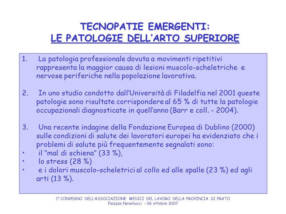 TECNOPATIE EMERGENTI: LE PATOLOGIE DELL'ARTO SUPERIORE 1. La patologia professionale dovuta a movimenti ripetitivi rappresenta la maggior causa di les