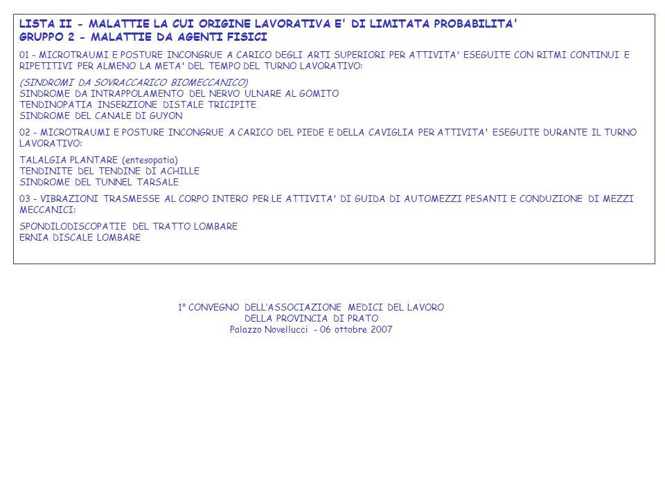 LISTA II - MALATTIE LA CUI ORIGINE LAVORATIVA E' DI LIMITATA PROBABILITA' GRUPPO 2 - MALATTIE DA AGENTI FISICI 01 - MICROTRAUMI E POSTURE INCONGRUE A