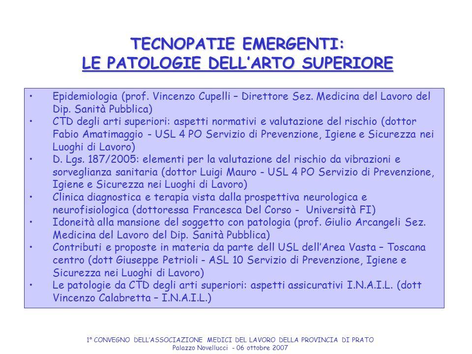 TECNOPATIE EMERGENTI: LE PATOLOGIE DELL'ARTO SUPERIORE Epidemiologia (prof. Vincenzo Cupelli – Direttore Sez. Medicina del Lavoro del Dip. Sanità Pubb