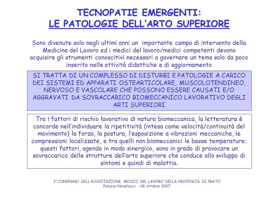 TECNOPATIE EMERGENTI: LE PATOLOGIE DELL'ARTO SUPERIORE SI TRATTA DI UN COMPLESSO DI DISTURBI E PATOLOGIE A CARICO DEI SISTEMI ED APPARATI OSTEARTICOLA