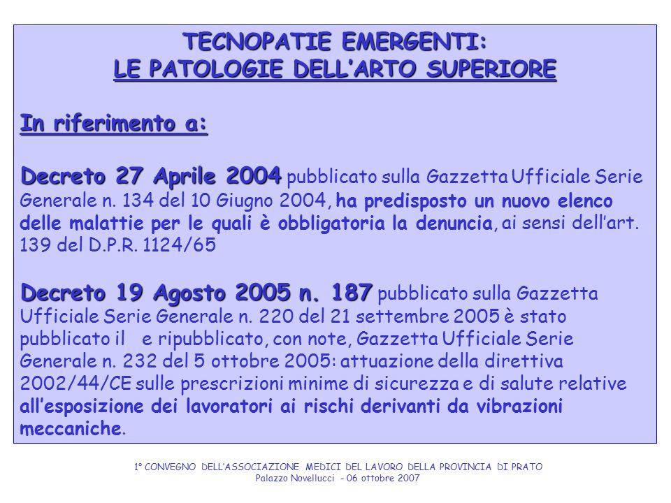 TECNOPATIE EMERGENTI: LE PATOLOGIE DELL'ARTO SUPERIORE In riferimento a: Decreto 27 Aprile 2004 Decreto 27 Aprile 2004 pubblicato sulla Gazzetta Uffic