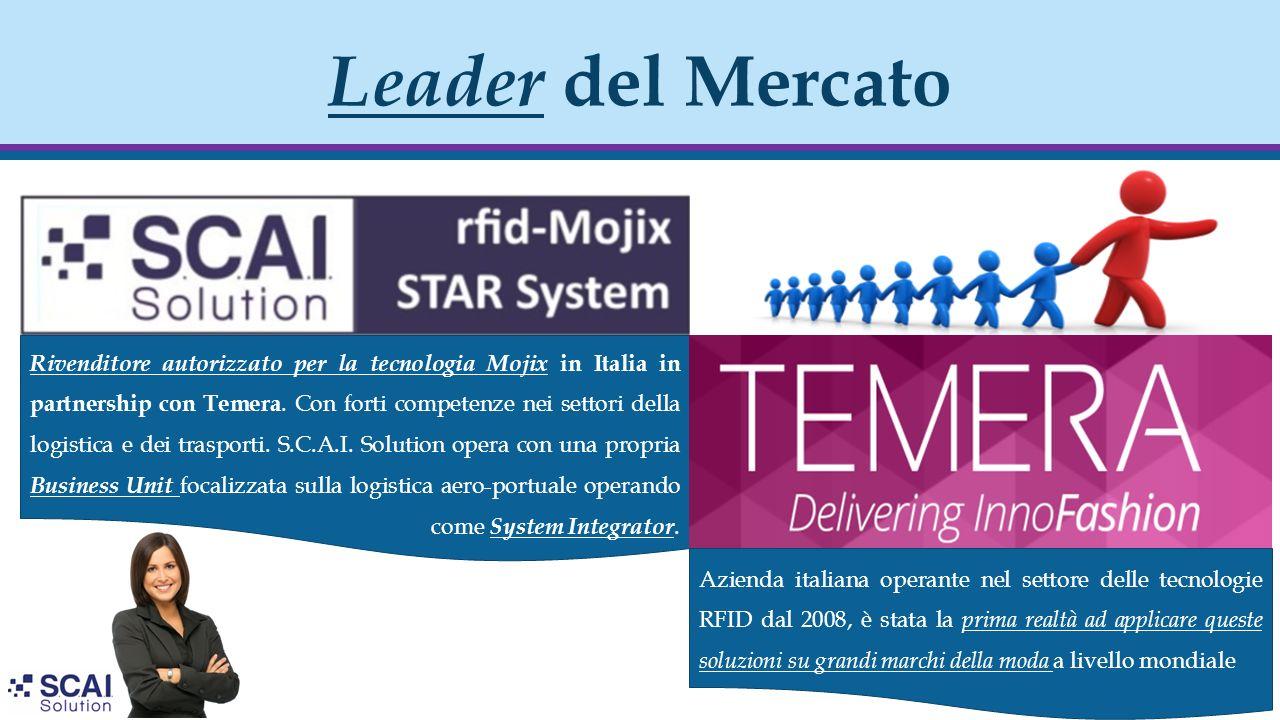 Leader del Mercato Rivenditore autorizzato per la tecnologia Mojix in Italia in partnership con Temera. Con forti competenze nei settori della logisti