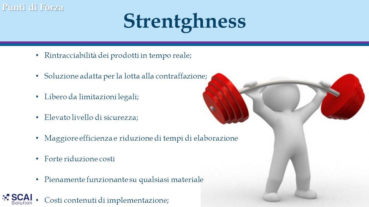 Strentghness Punti di Forza Rintracciabilità dei prodotti in tempo reale; Soluzione adatta per la lotta alla contraffazione; Libero da limitazioni leg