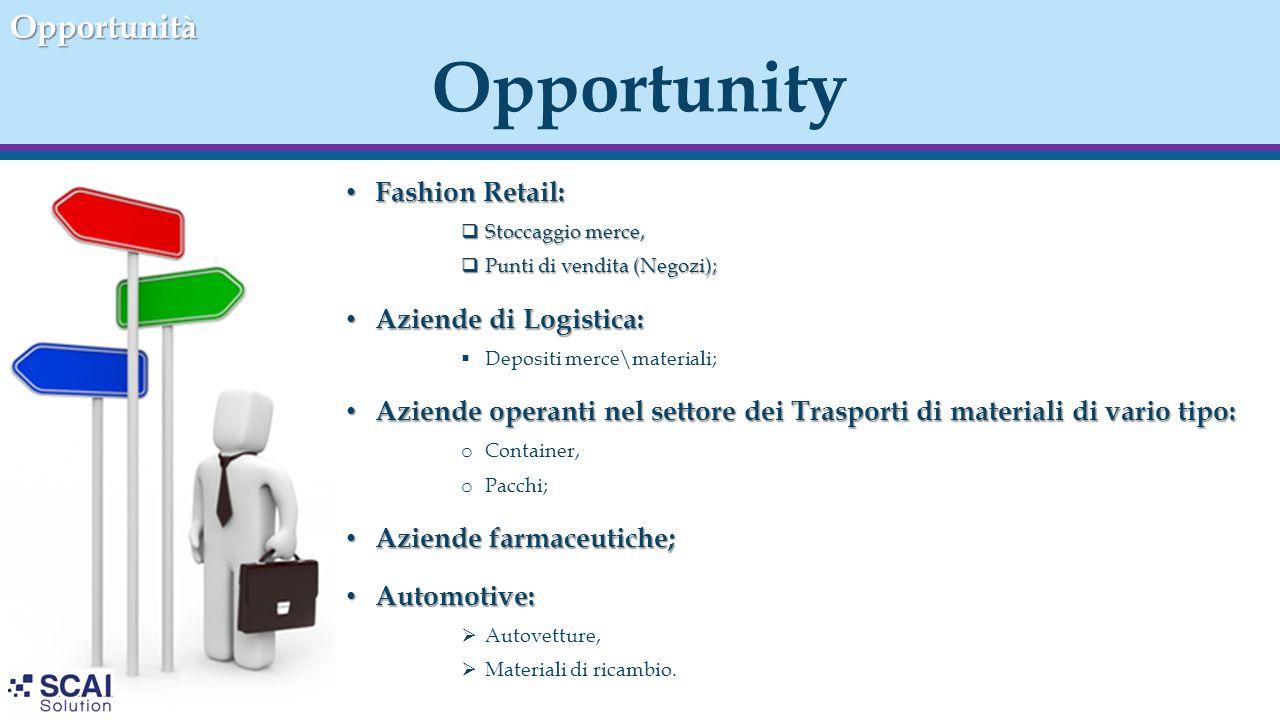 Opportunity Fashion Retail: Fashion Retail:  Stoccaggio merce,  Punti di vendita (Negozi); Aziende di Logistica: Aziende di Logistica:  Depositi me
