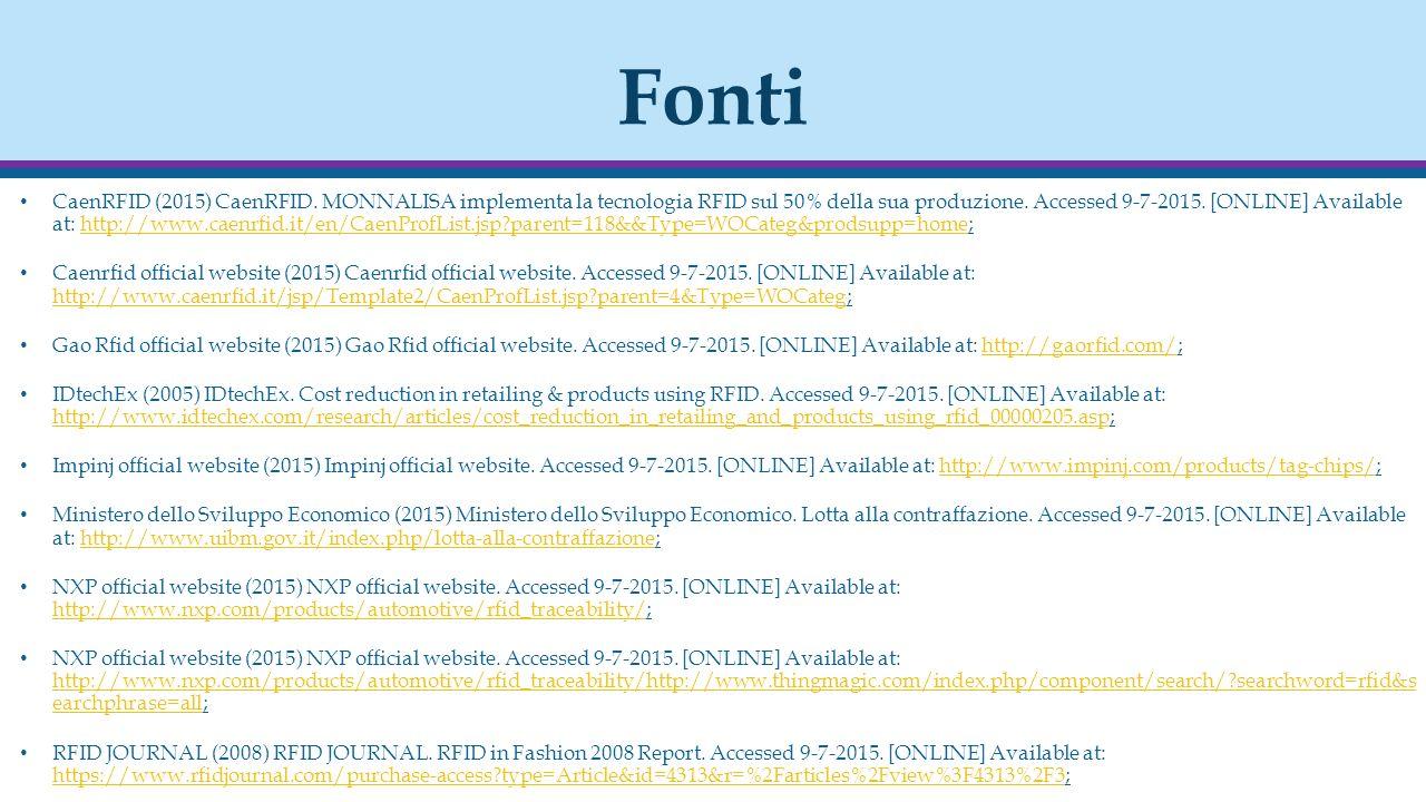 Fonti CaenRFID (2015) CaenRFID. MONNALISA implementa la tecnologia RFID sul 50% della sua produzione. Accessed 9-7-2015. [ONLINE] Available at: http:/