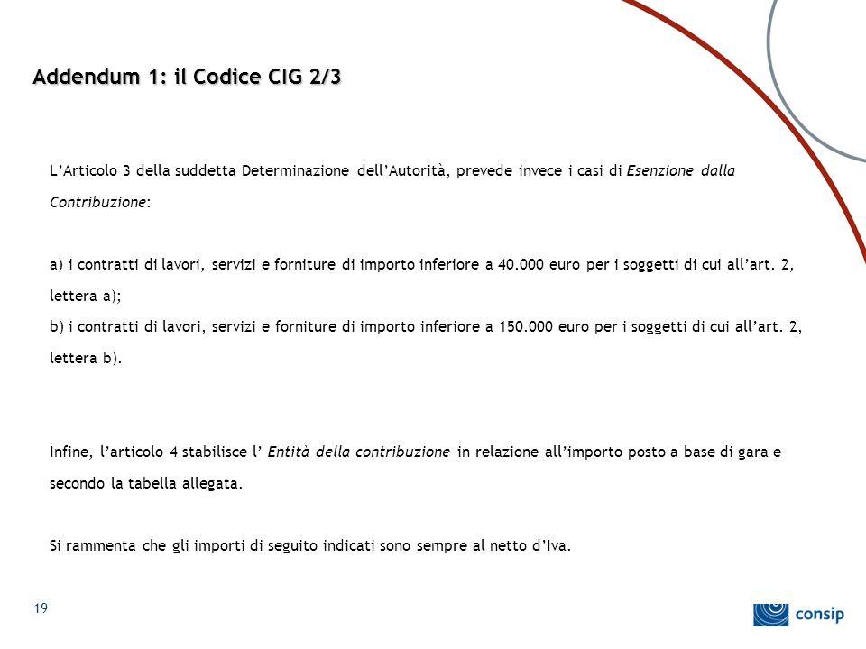 Addendum 1: il Codice CIG 2/3 L'Articolo 3 della suddetta Determinazione dell'Autorità, prevede invece i casi di Esenzione dalla Contribuzione: a) i c