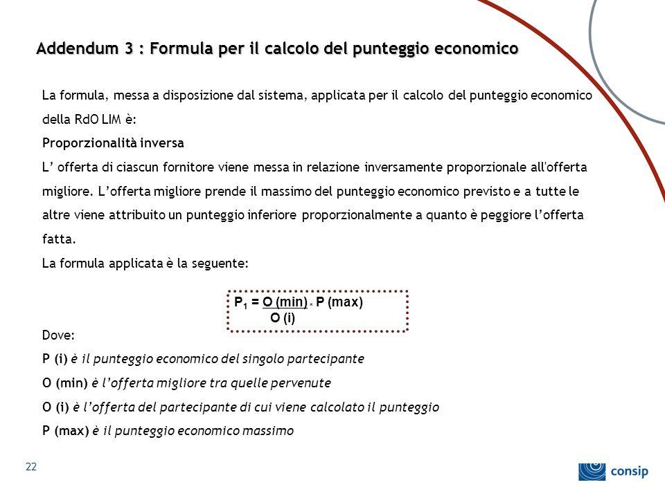 Addendum 3 : Formula per il calcolo del punteggio economico La formula, messa a disposizione dal sistema, applicata per il calcolo del punteggio econo