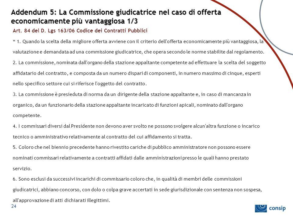 Addendum 5: La Commissione giudicatrice nel caso di offerta economicamente più vantaggiosa 1/3 Art. 84 del D. Lgs 163/06 Codice dei Contratti Pubblici