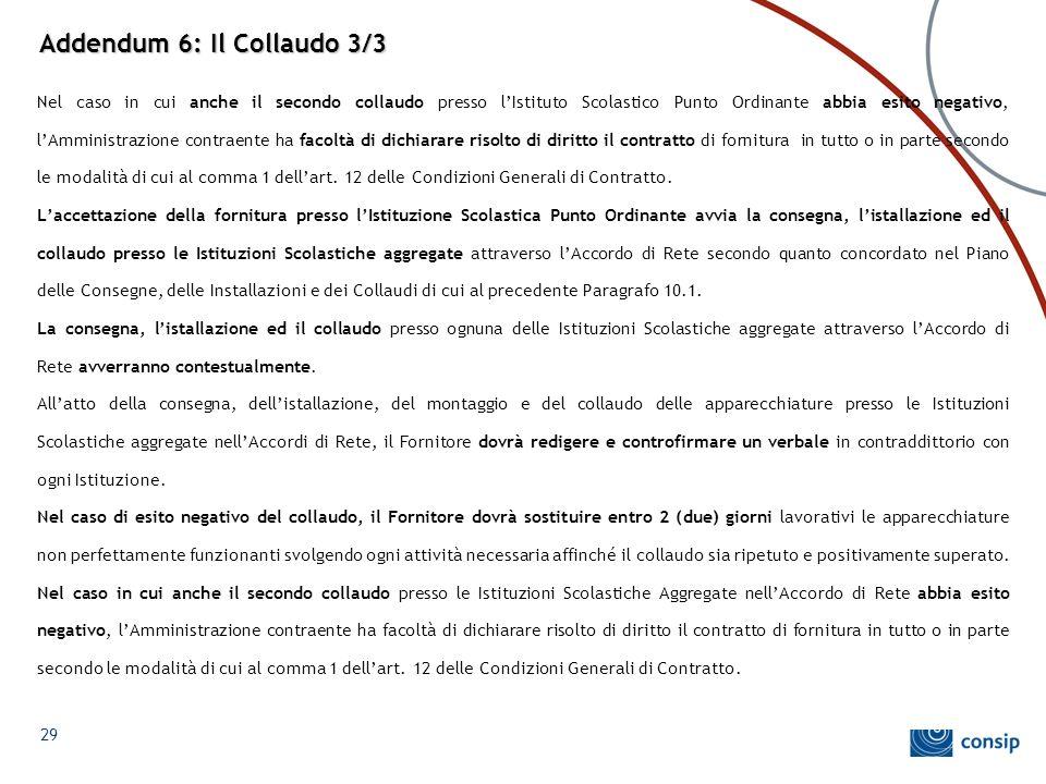 Addendum 6: Il Collaudo 3/3 Nel caso in cui anche il secondo collaudo presso l'Istituto Scolastico Punto Ordinante abbia esito negativo, l'Amministraz
