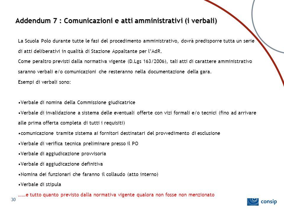 Addendum 7 : Comunicazioni e atti amministrativi (i verbali) La Scuola Polo durante tutte le fasi del procedimento amministrativo, dovrà predisporre t