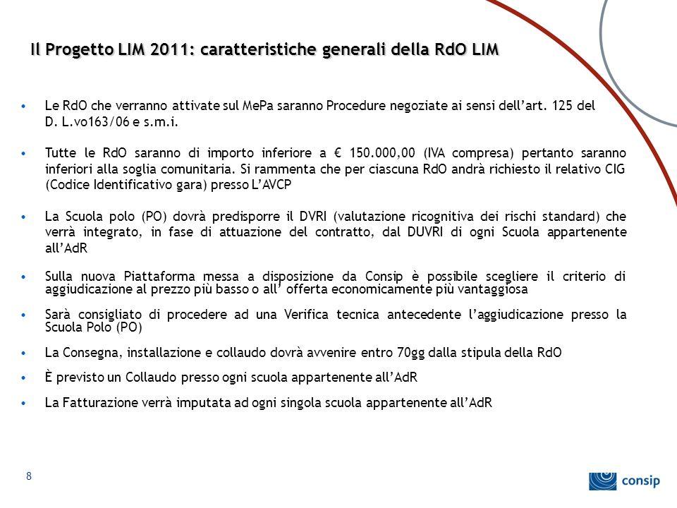 8 Il Progetto LIM 2011: caratteristiche generali della RdO LIM Le RdO che verranno attivate sul MePa saranno Procedure negoziate ai sensi dell'art. 12