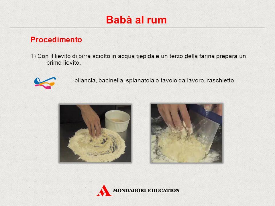 Procedimento 1) Con il lievito di birra sciolto in acqua tiepida e un terzo della farina prepara un primo lievito.