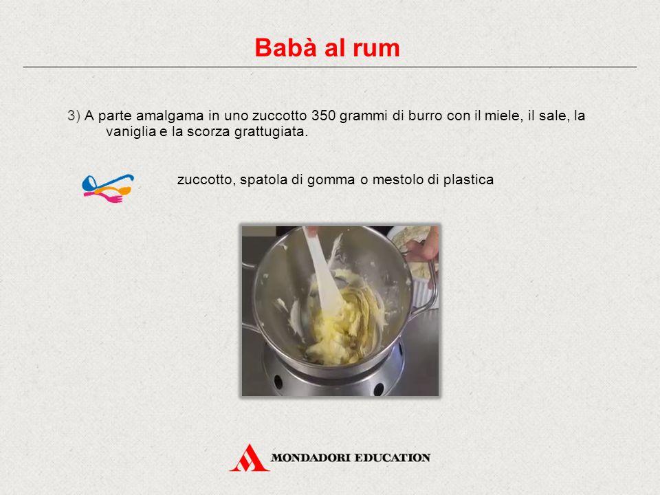 3) A parte amalgama in uno zuccotto 350 grammi di burro con il miele, il sale, la vaniglia e la scorza grattugiata.