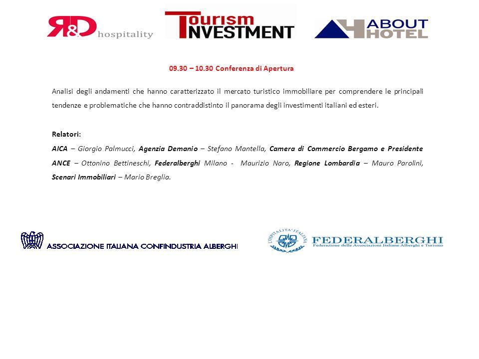 09.30 – 10.30 Conferenza di Apertura Analisi degli andamenti che hanno caratterizzato il mercato turistico immobiliare per comprendere le principali t