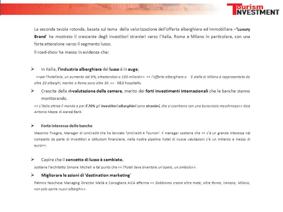La seconda tavola rotonda, basata sul tema della valorizzazione dell'offerta alberghiera ed immobiliare –'Luxury Brand' ha mostrato il crescente degli