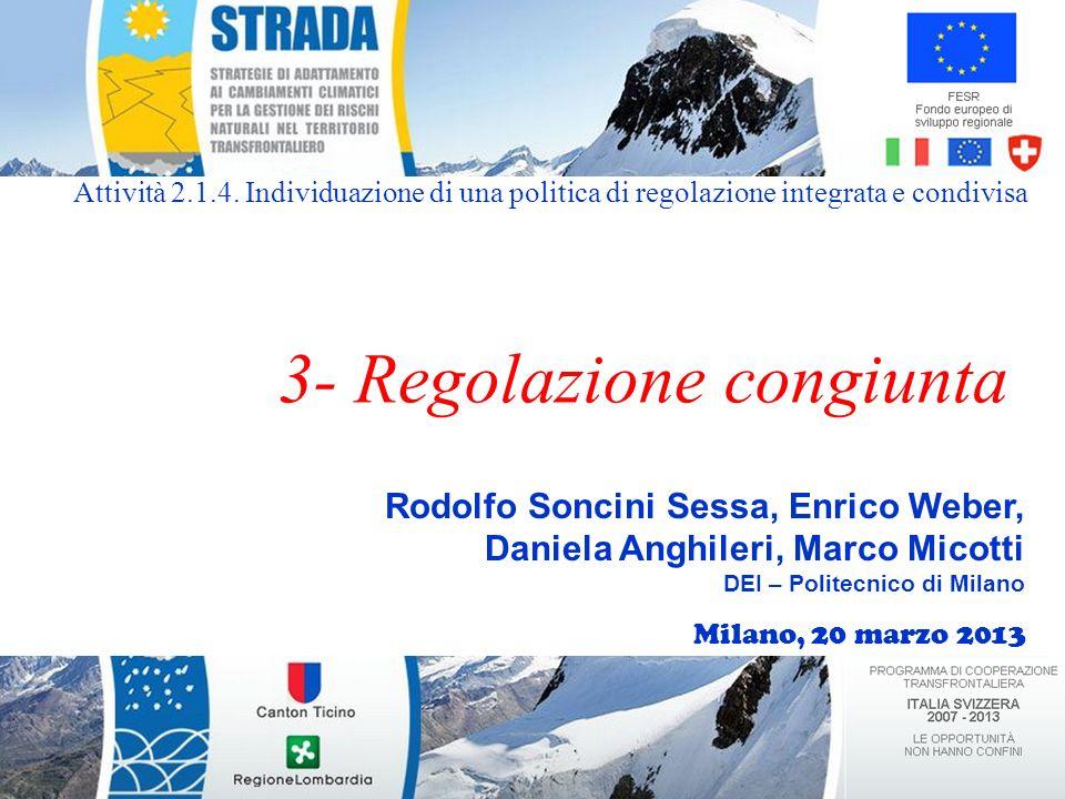 Rodolfo Soncini Sessa, Enrico Weber, Daniela Anghileri, Marco Micotti DEI – Politecnico di Milano 3- Regolazione congiunta Attività 2.1.4.