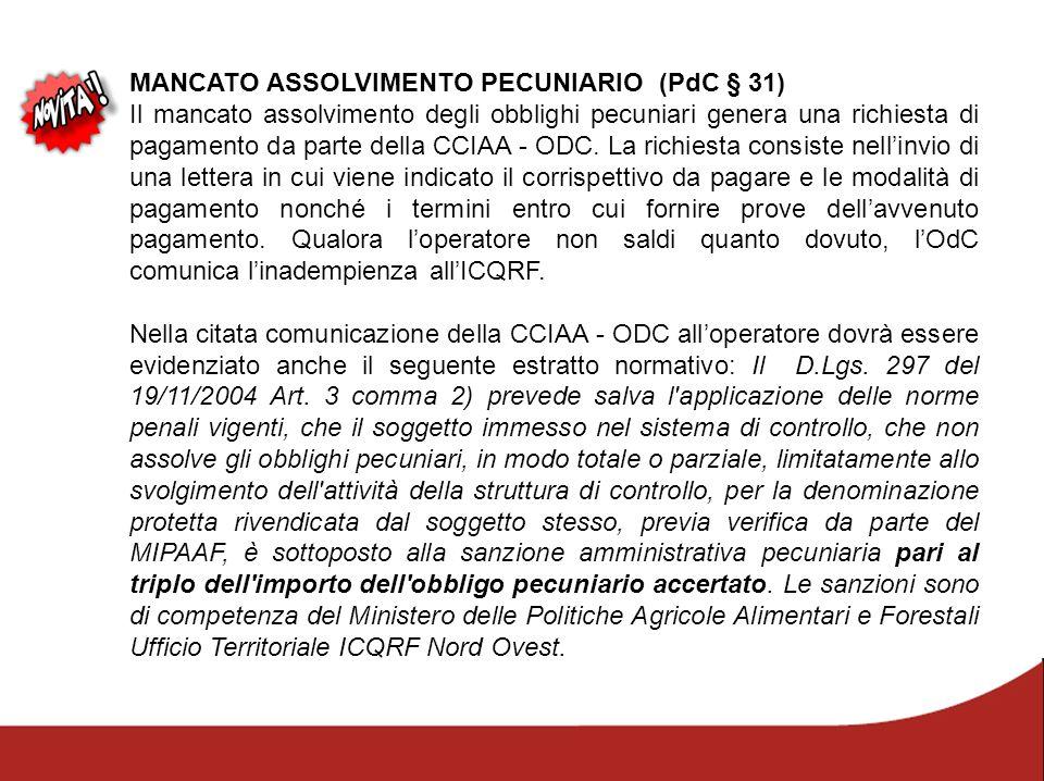 MANCATO ASSOLVIMENTO PECUNIARIO (PdC § 31) Il mancato assolvimento degli obblighi pecuniari genera una richiesta di pagamento da parte della CCIAA - O
