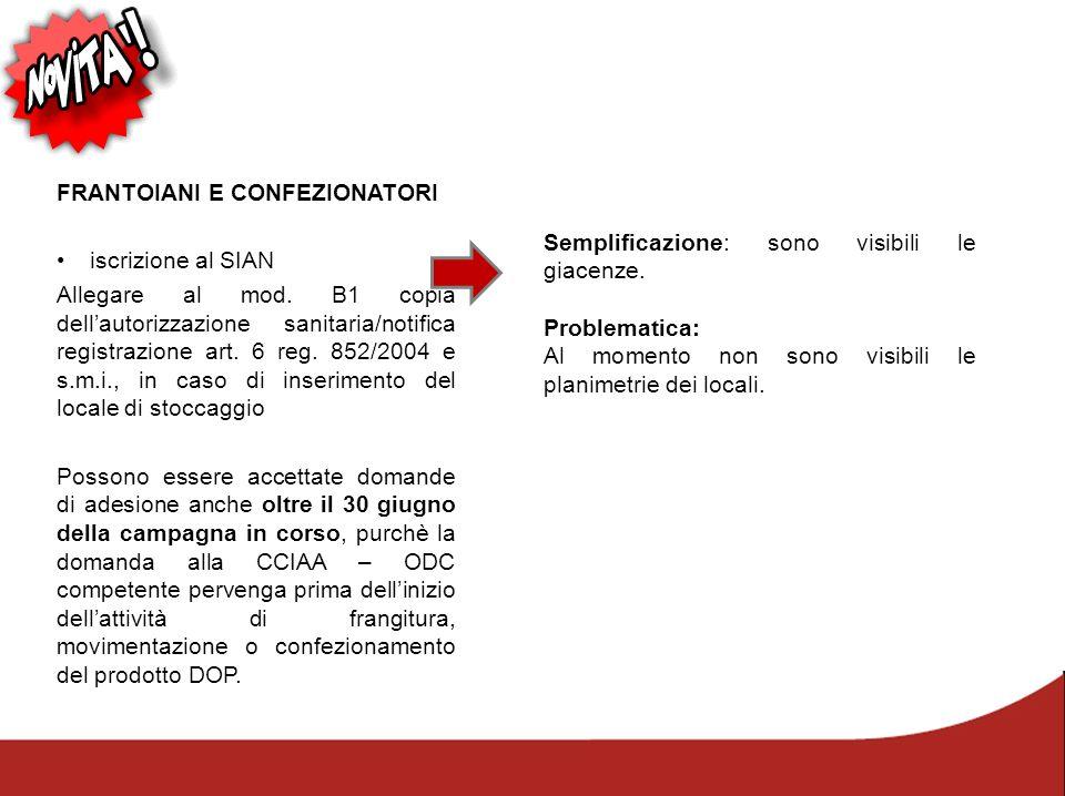 FRANTOIANI E CONFEZIONATORI iscrizione al SIAN Allegare al mod. B1 copia dell'autorizzazione sanitaria/notifica registrazione art. 6 reg. 852/2004 e s