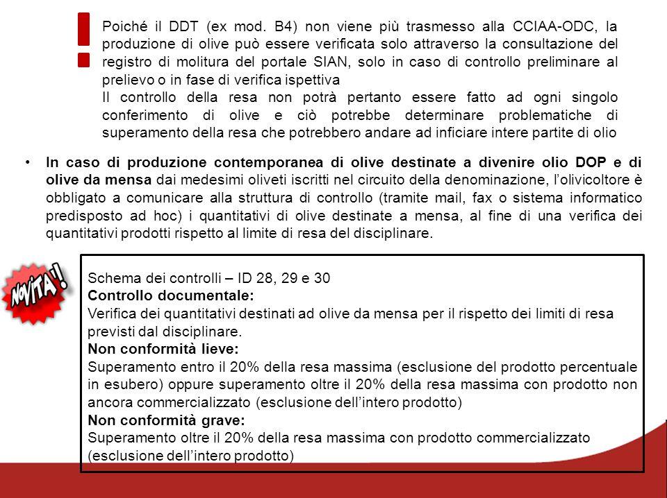 Schema dei controlli – ID 28, 29 e 30 Controllo documentale: Verifica dei quantitativi destinati ad olive da mensa per il rispetto dei limiti di resa