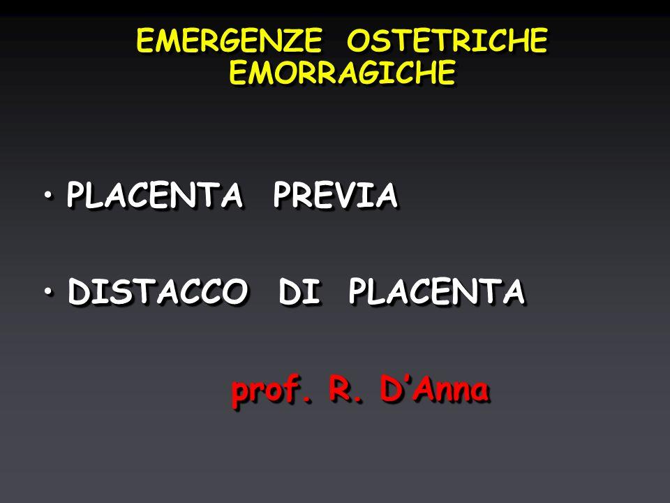 EMERGENZE OSTETRICHE EMORRAGICHE PLACENTA PREVIAPLACENTA PREVIA DISTACCO DI PLACENTADISTACCO DI PLACENTA prof.