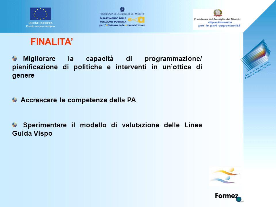 FINALITA' Migliorare la capacità di programmazione/ pianificazione di politiche e interventi in un'ottica di genere Accrescere le competenze della PA