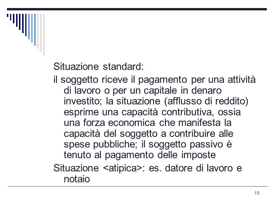 15 Situazione standard: il soggetto riceve il pagamento per una attività di lavoro o per un capitale in denaro investito; la situazione (afflusso di r