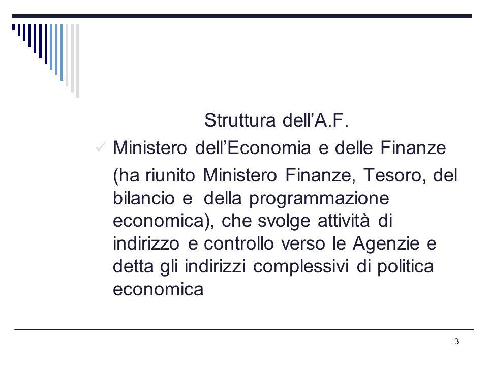 3 Struttura dell'A.F. Ministero dell'Economia e delle Finanze (ha riunito Ministero Finanze, Tesoro, del bilancio e della programmazione economica), c