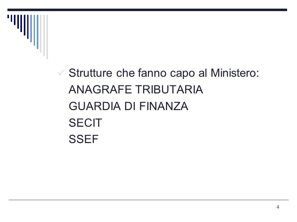 4 Strutture che fanno capo al Ministero: ANAGRAFE TRIBUTARIA GUARDIA DI FINANZA SECIT SSEF