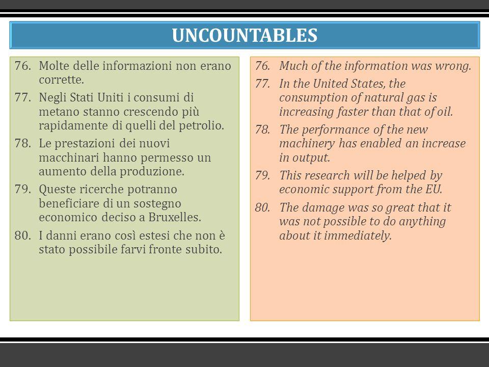 UNCOUNTABLES 76.Molte delle informazioni non erano corrette.