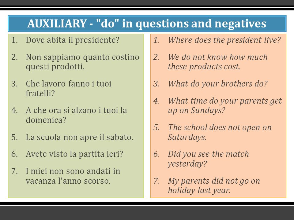 AUXILIARY - do in questions and negatives 1.Dove abita il presidente.