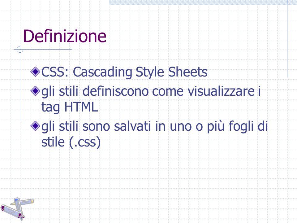 Definizione CSS: Cascading Style Sheets gli stili definiscono come visualizzare i tag HTML gli stili sono salvati in uno o più fogli di stile (.css)