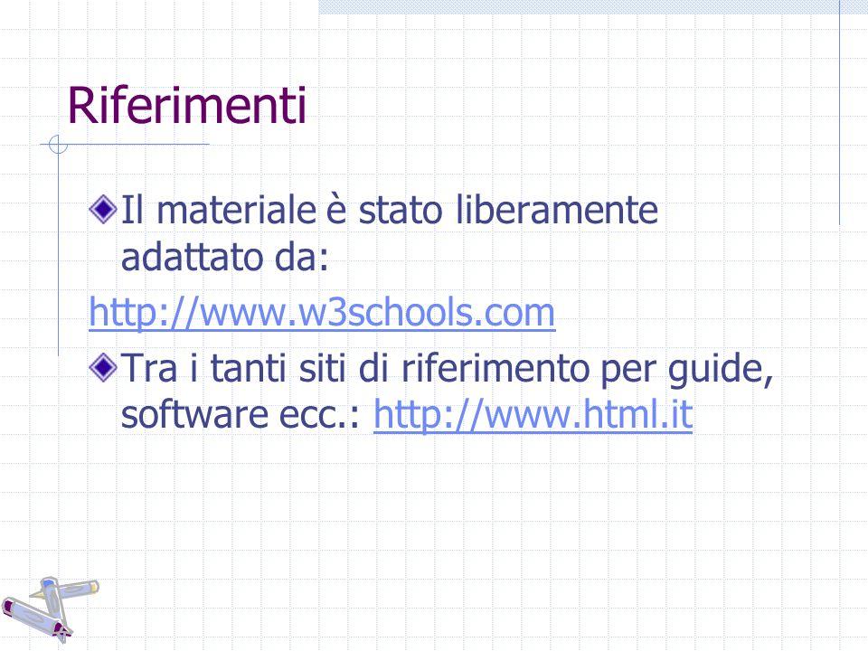 Riferimenti Il materiale è stato liberamente adattato da: http://www.w3schools.com Tra i tanti siti di riferimento per guide, software ecc.: http://www.html.ithttp://www.html.it