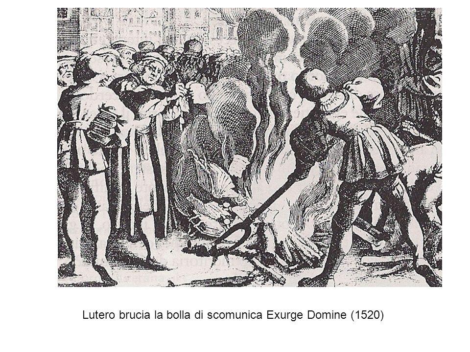Lutero brucia la bolla di scomunica Exurge Domine (1520)
