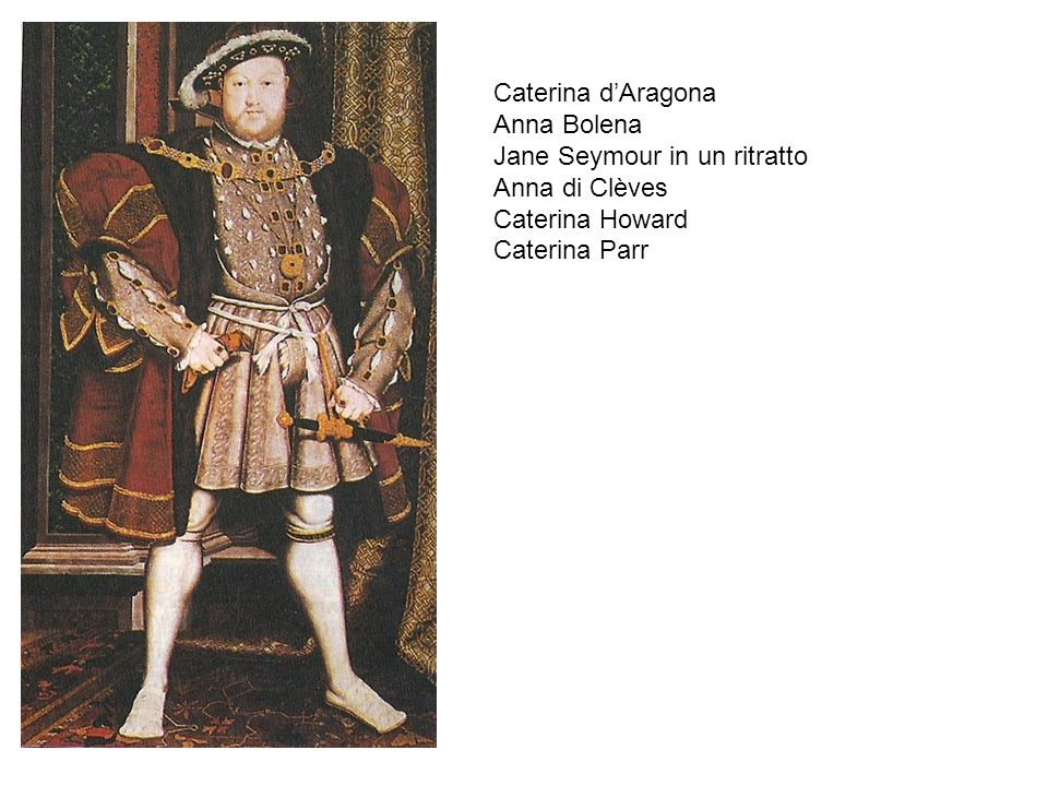 Caterina d'Aragona Anna Bolena Jane Seymour in un ritratto Anna di Clèves Caterina Howard Caterina Parr