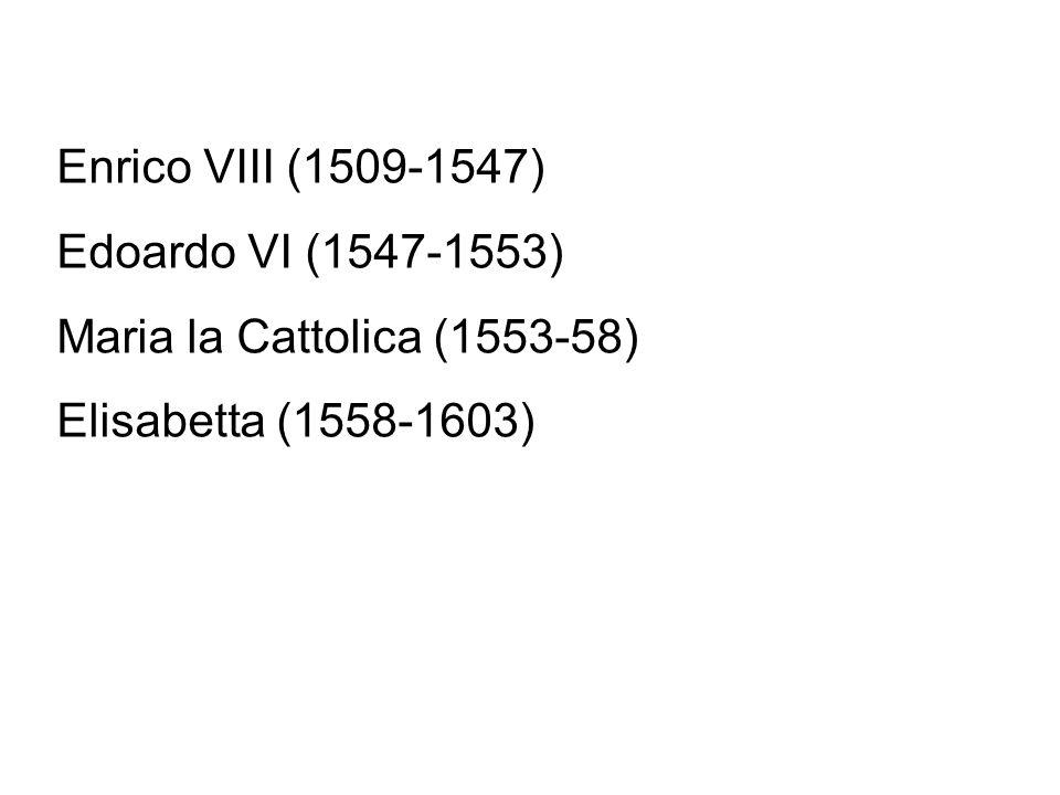 Enrico VIII (1509-1547) Edoardo VI (1547-1553) Maria la Cattolica (1553-58) Elisabetta (1558-1603)