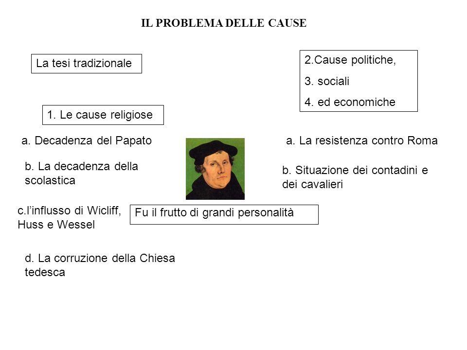 Fu il frutto di grandi personalità La tesi tradizionale IL PROBLEMA DELLE CAUSE 1. Le cause religiose a. Decadenza del Papato b. La decadenza della sc