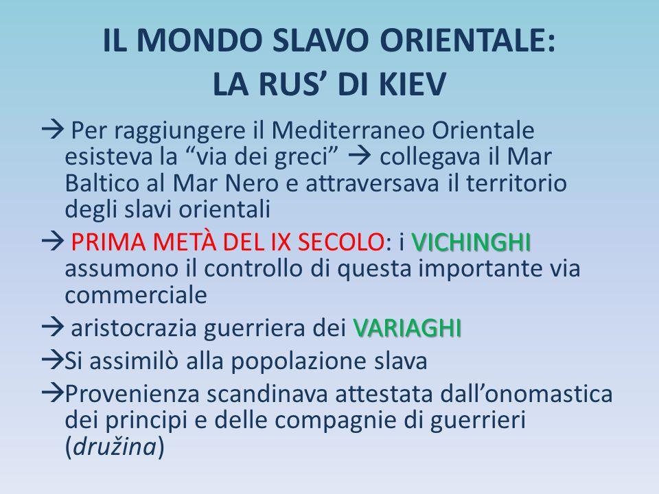 """IL MONDO SLAVO ORIENTALE: LA RUS' DI KIEV  Per raggiungere il Mediterraneo Orientale esisteva la """"via dei greci""""  collegava il Mar Baltico al Mar Ne"""