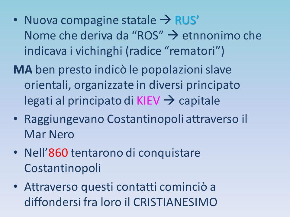 """RUS' Nuova compagine statale  RUS' Nome che deriva da """"ROS""""  etnnonimo che indicava i vichinghi (radice """"rematori"""") MA ben presto indicò le popolazi"""