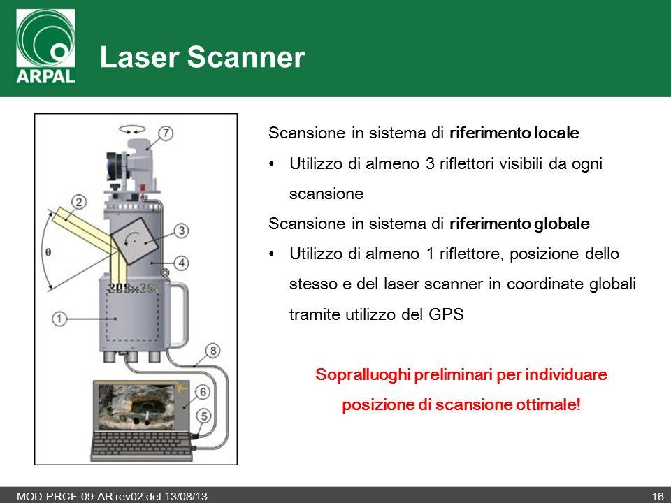 MOD-PRCF-09-AR rev02 del 13/08/1316 Laser Scanner Scansione in sistema di riferimento locale Utilizzo di almeno 3 riflettori visibili da ogni scansione Scansione in sistema di riferimento globale Utilizzo di almeno 1 riflettore, posizione dello stesso e del laser scanner in coordinate globali tramite utilizzo del GPS Sopralluoghi preliminari per individuare posizione di scansione ottimale!