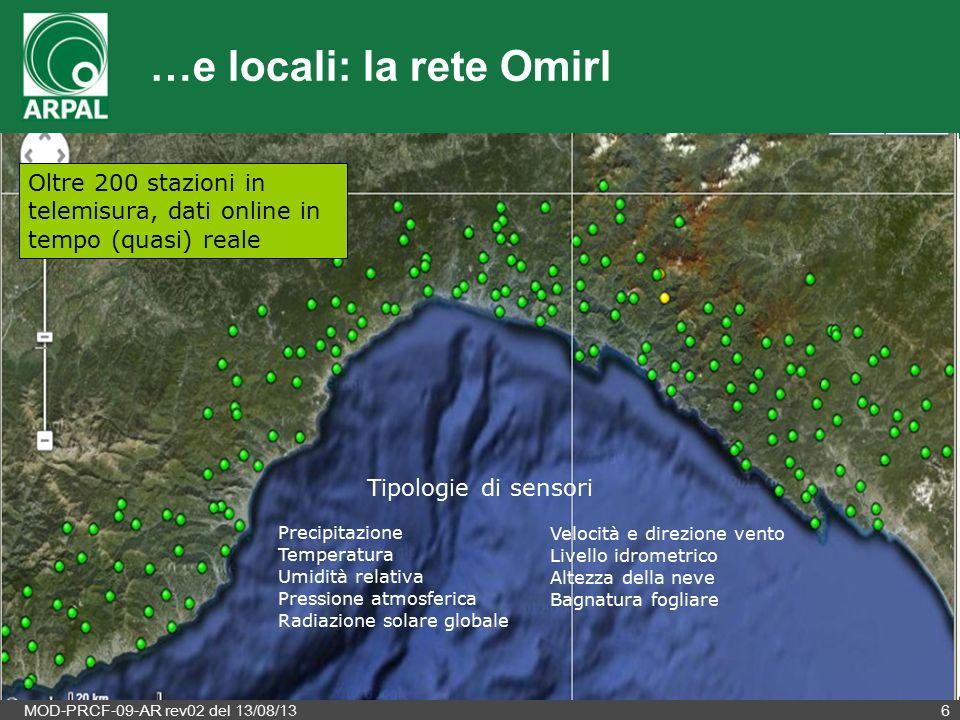 MOD-PRCF-09-AR rev02 del 13/08/136 …e locali: la rete Omirl Oltre 200 stazioni in telemisura, dati online in tempo (quasi) reale Precipitazione Temper